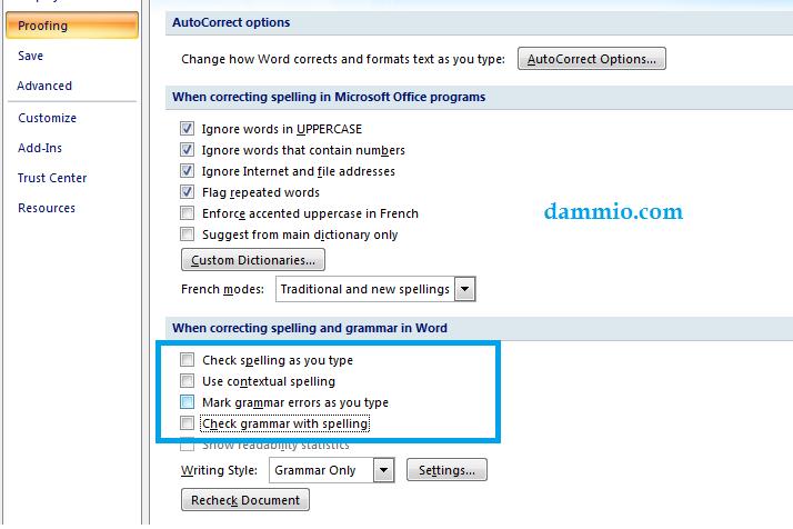 Tắt kiểm tra chính tả trong Microsoft Word 2007 trở về sau