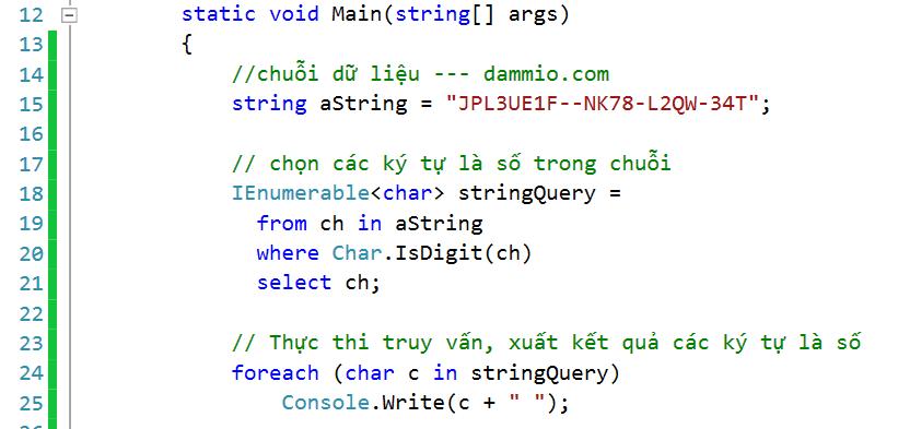 [LINQ và chuỗi] Phần 3: Truy vấn các ký tự trong chuỗi