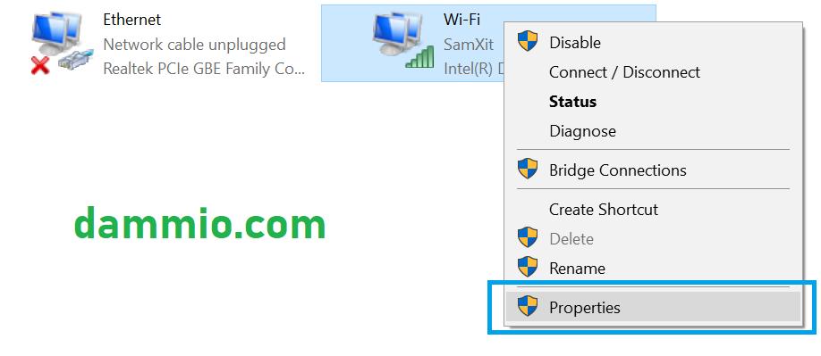 Sau khi cửa sổ Properties, bật lên, bạn nhấp đôi chuột vào dòng chữ  Internet Protocol Version 4 (TCP/IPv4). Hoặc bạn có thể chọn dòng này và  chọn nút ...