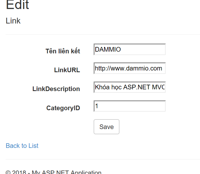 [ASP.NET MVC] Phần 8: Tìm hiểu về các phương thức Edit và View Edit