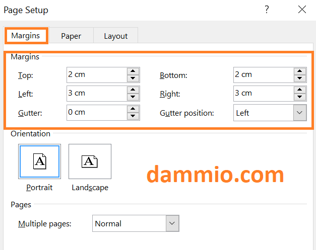 Định dạng khổ giấy A4 và canh lề trái, phải, trên, dưới trong Microsoft Office Word
