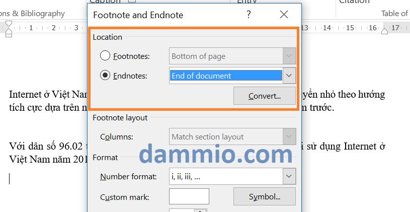 Chuyển đổi Footnote thành Endnote trong Word